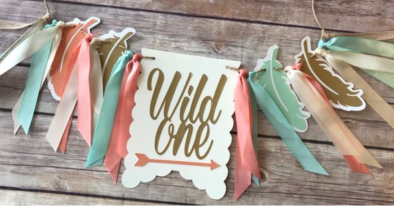 First Birthday High Chair Banner wild One by Pocket full of Glitter
