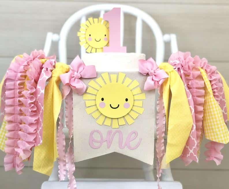 First Birthday high chair banner sunshine by Birthday Boutique GVL