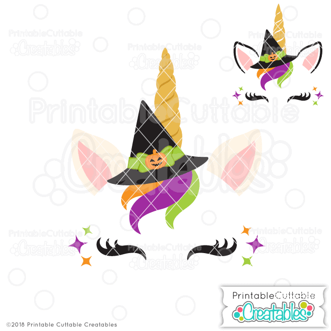 Halloween SVG Halloween-Witch-Unicorn-Face-Free