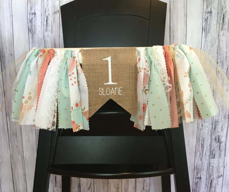 Mint pastel one high chair banner