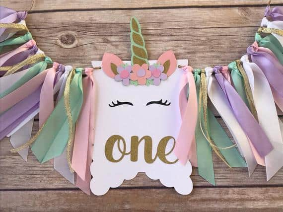 First Birthday High chair Banner Unicorn by Pocket Full of Glitter