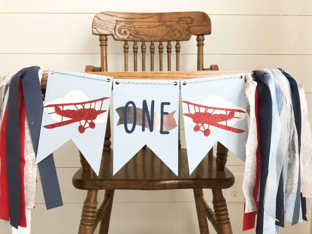 first birthday high chair banner airplane