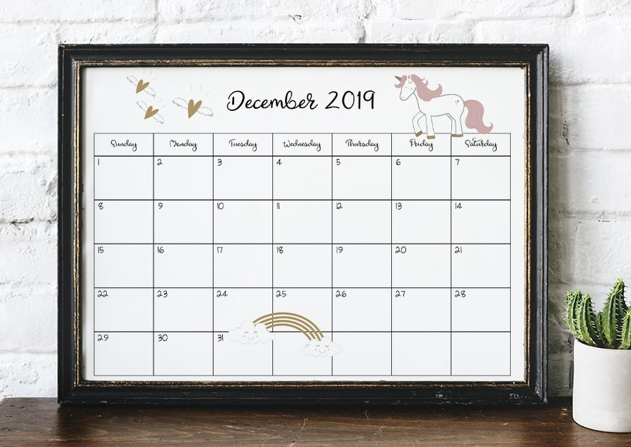 2018-2019 Unicorn Calendar Printable