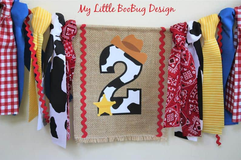 first birthday high chair banner cowboy toy story