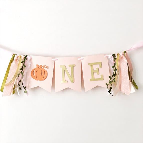 First Birthday high chair banner pumpkin by funstacraft