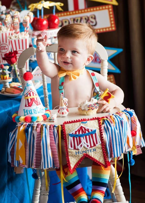 First Birthday high chair banner circus by Giggle and Wiggles 1