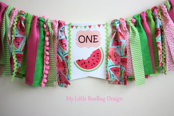 First Birthday high chair banner melon by My Little Boobug