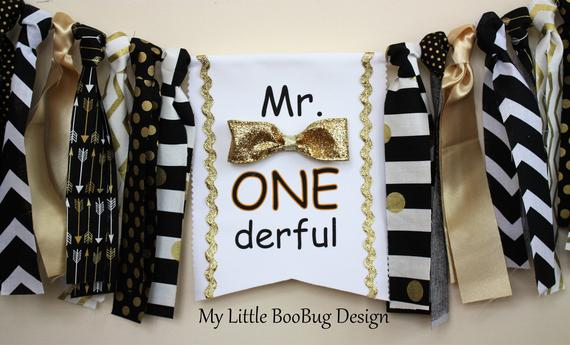 First Birthday high chair sign Mr Onderful by My Little Boobug