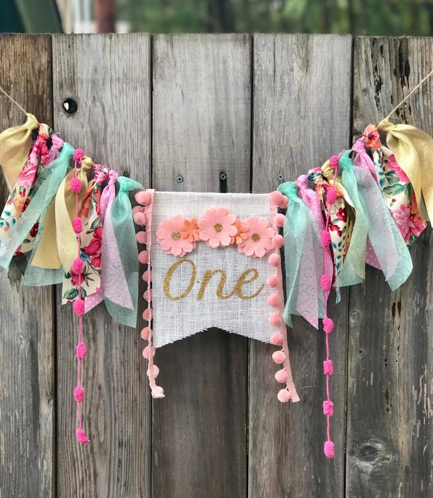 shabby chic floral one high chair banner