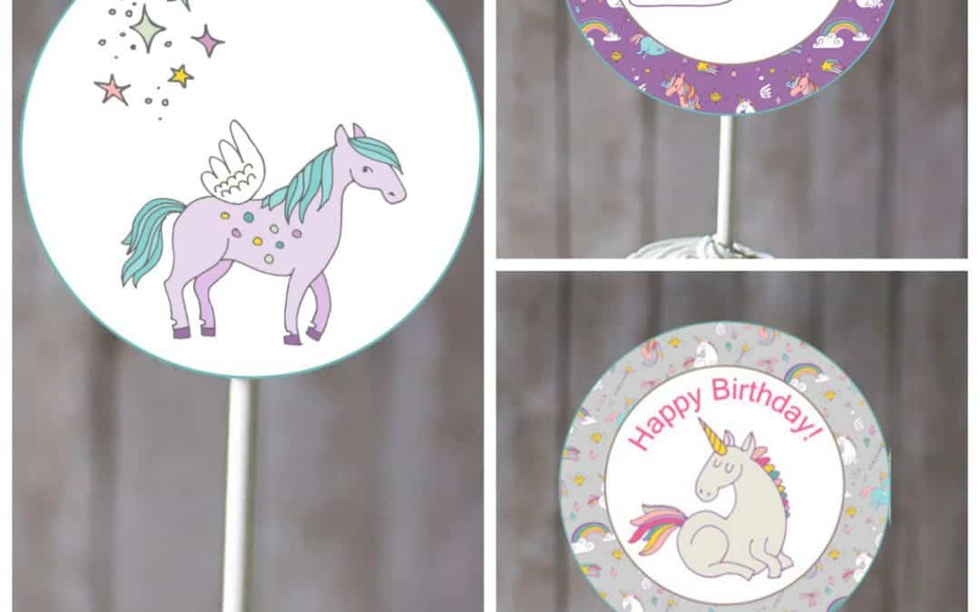 Free unicorn cupcake toppers