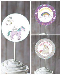 unicorn cupcake toppers printable