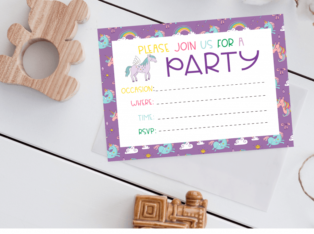 Unicorn invitation printable