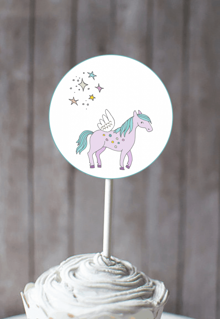 Free Unicorn cupcake toppers printable