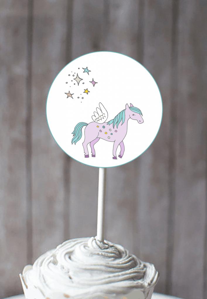 Free Unicorn cupcake toppers printable