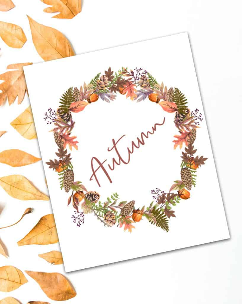 fall printable Autumn wreath