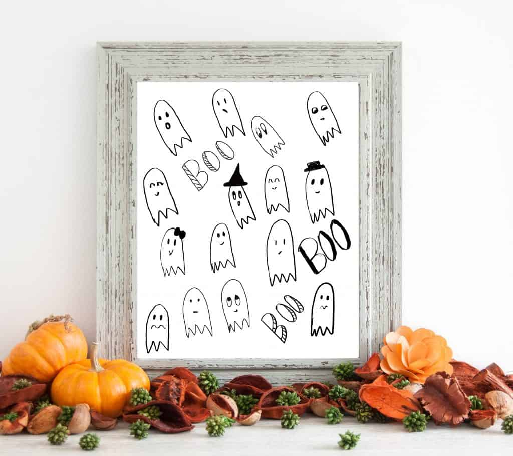 Free Halloween Printables ghosts mock up