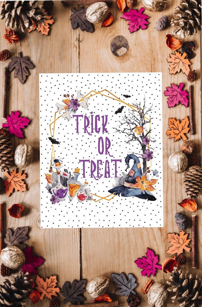 Halloween printable trick or treat sign