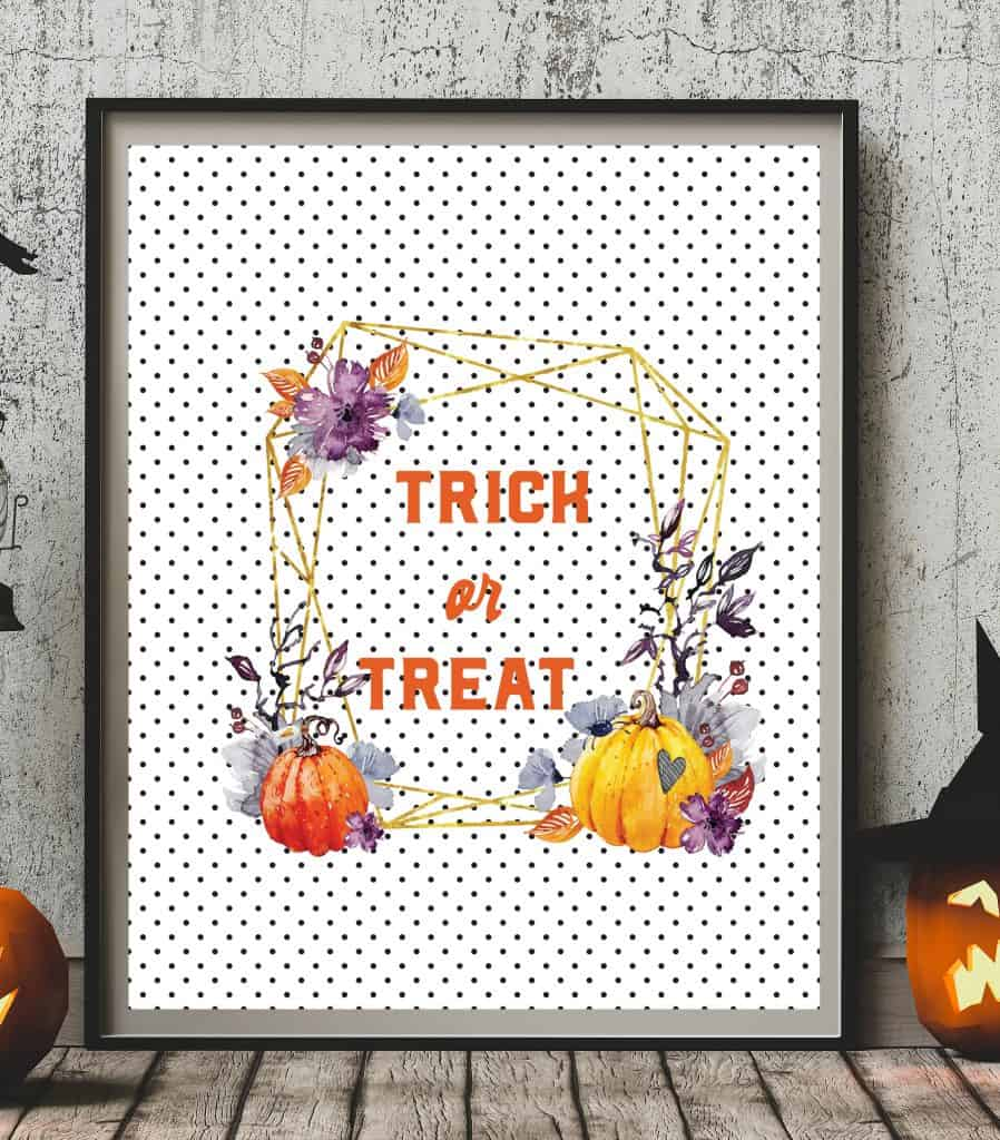Halloween printable trick or treat