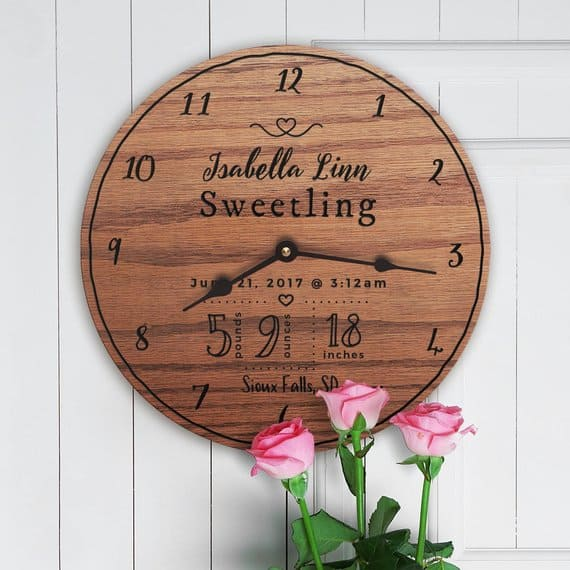 Personalized Baby gift Clock