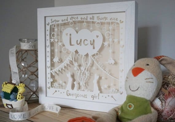 Personalized framed babycut Dalila and Fen