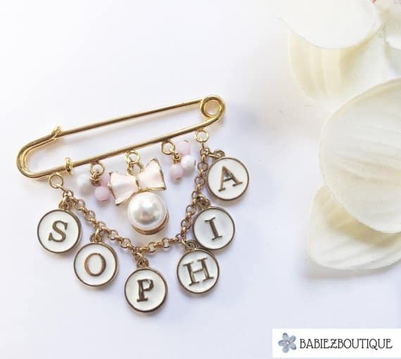 Personalized name stroller pin babies boutique