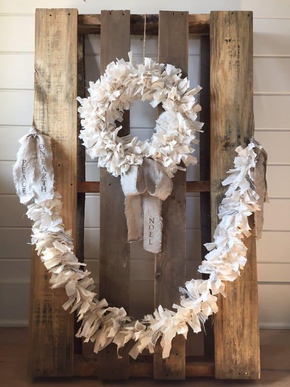 Shabby Chic Wreath rag wreath linen rabbit