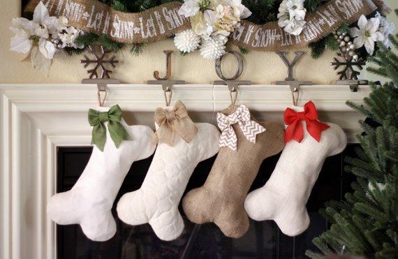 dog christmas stocking burlap babe