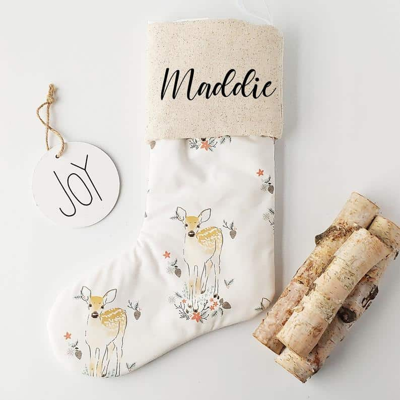 reindeer personalized stocking from Onyx and Sage Sleep Co