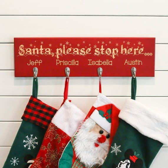 stocking holder gifted oak