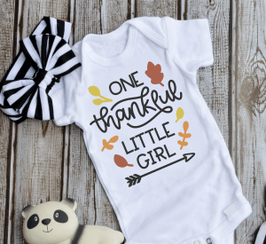 One thankful little Girl Thanksgiving SVGs to make this adorable bodysuit.