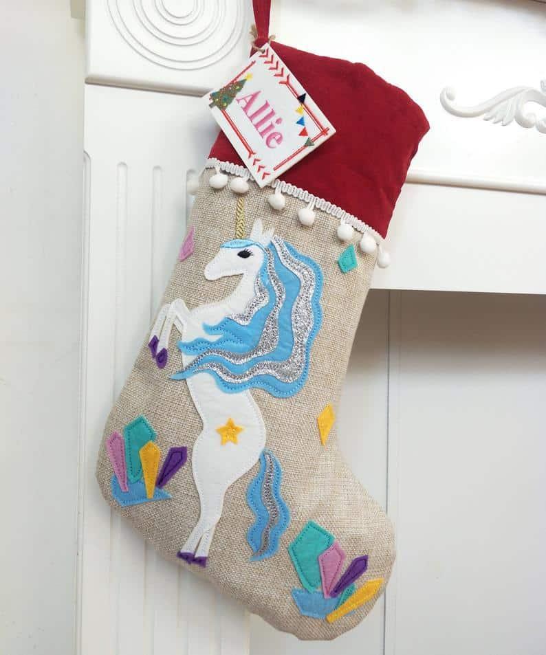 unicorn stocking by Burlap Season