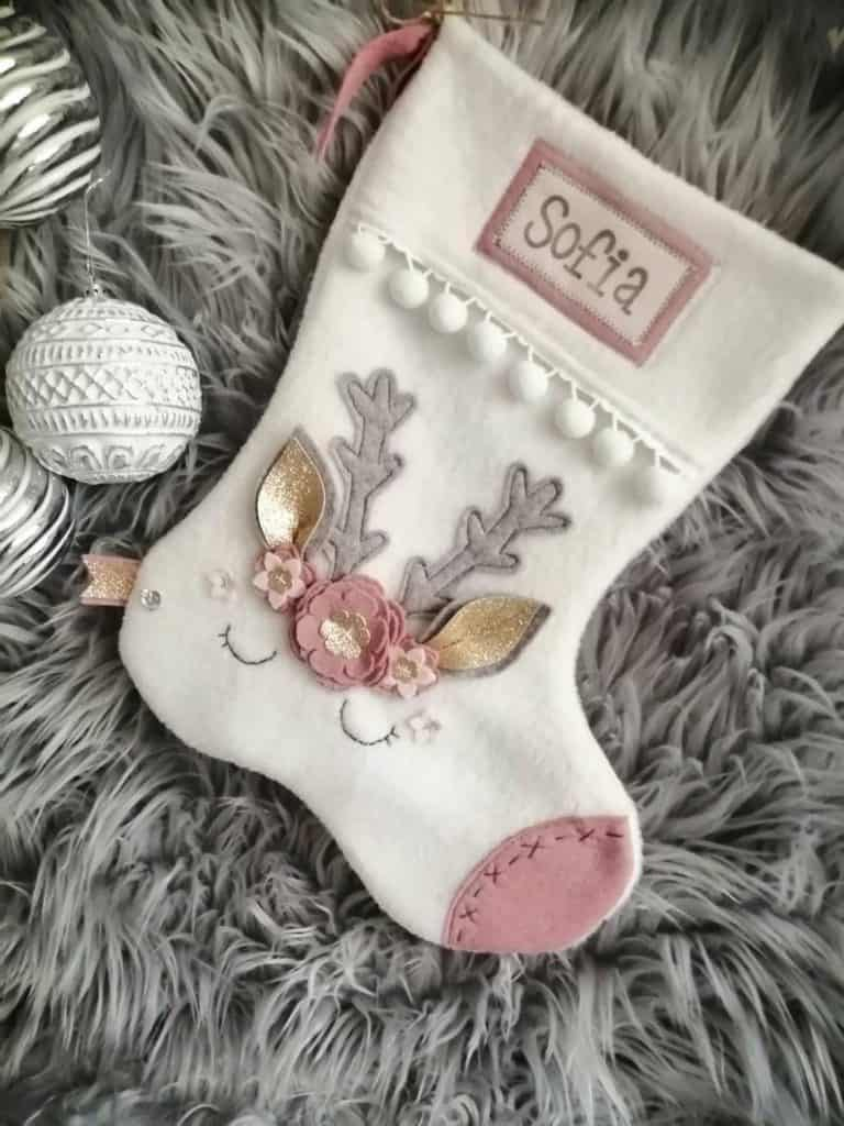 baby reindeer stocking by The Xmas Stocking Co