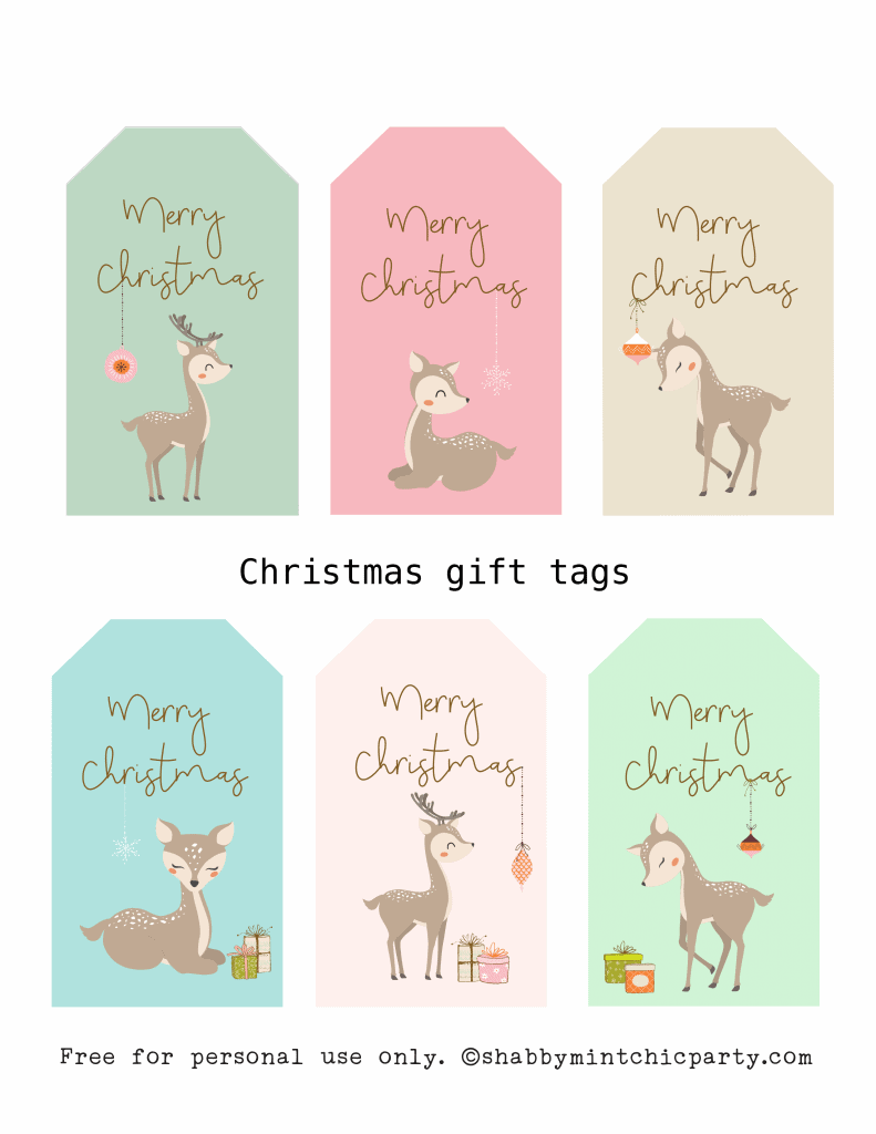 Christms gift tag deer gift tags mock 3