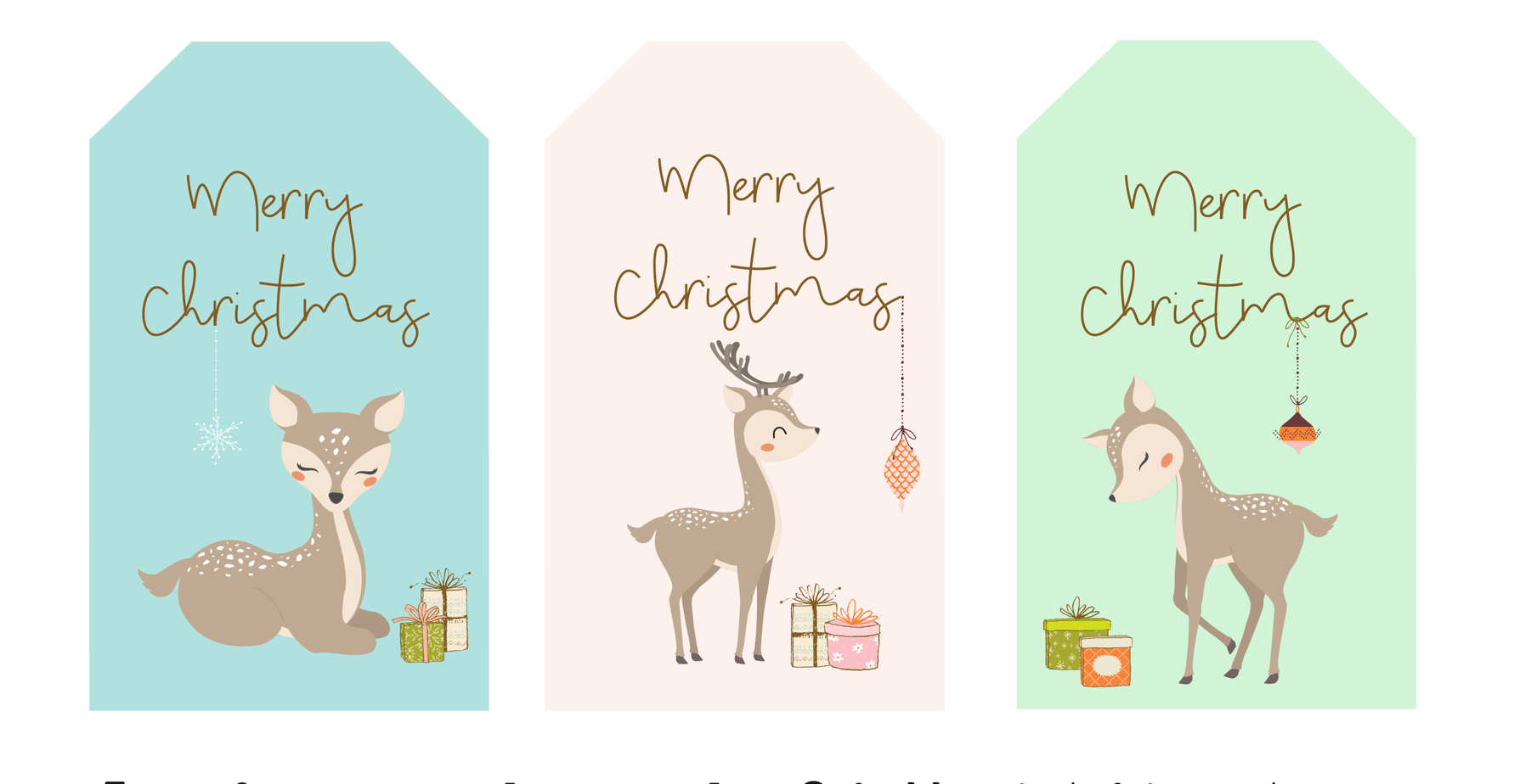 Christms gift tag deer gift tags snowflakes