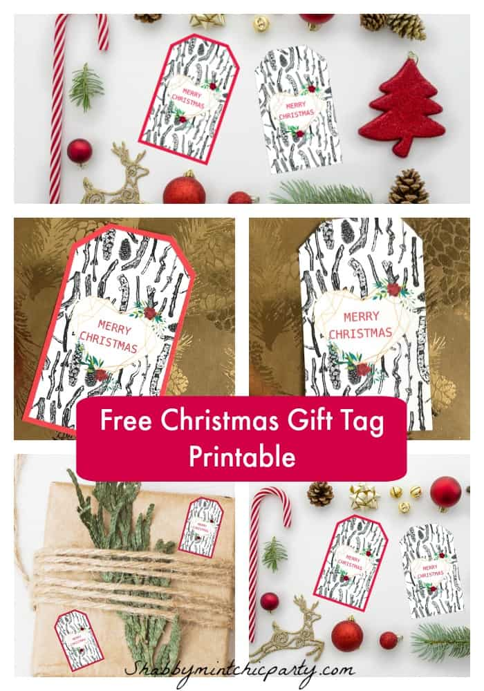 Geometric heart Christmas gift tag pinterest