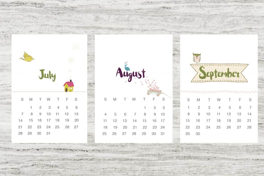 Beautiful free calendar July-september