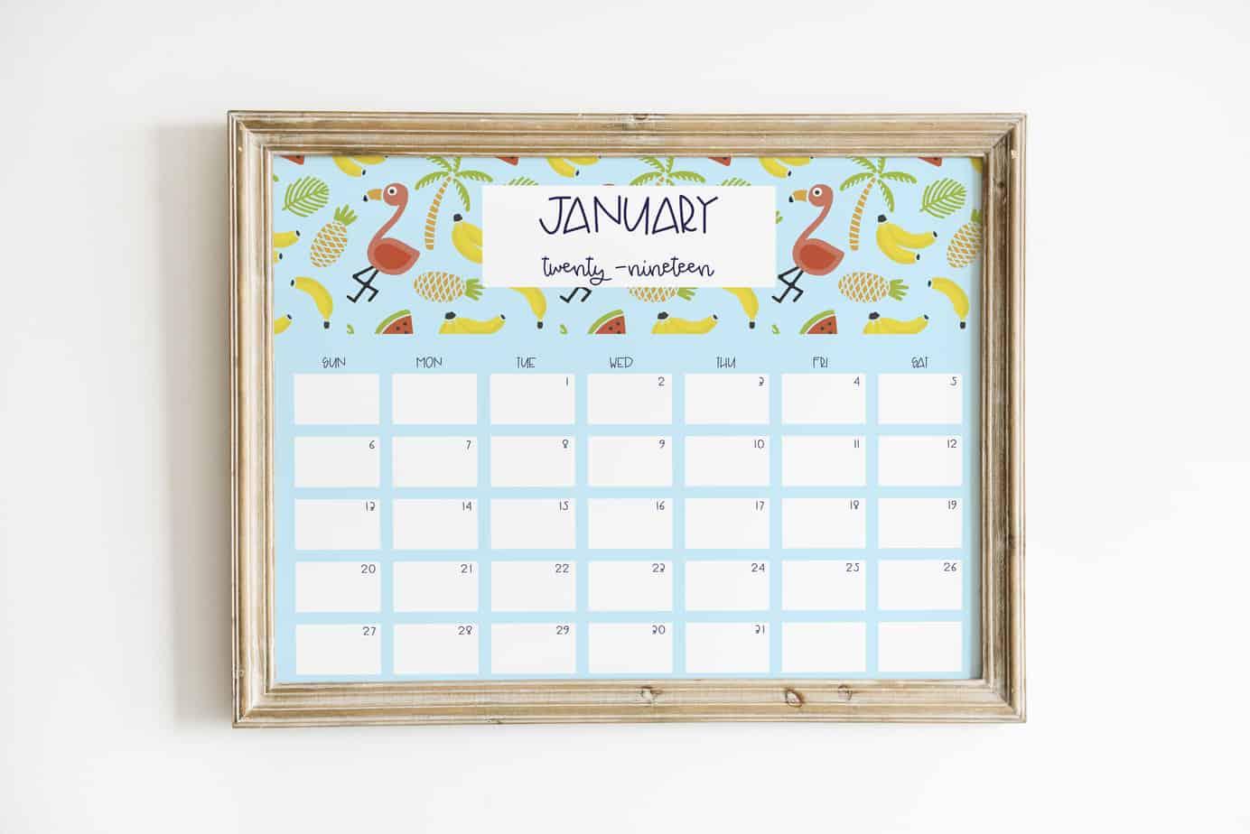 flamingo 2019 calendar january