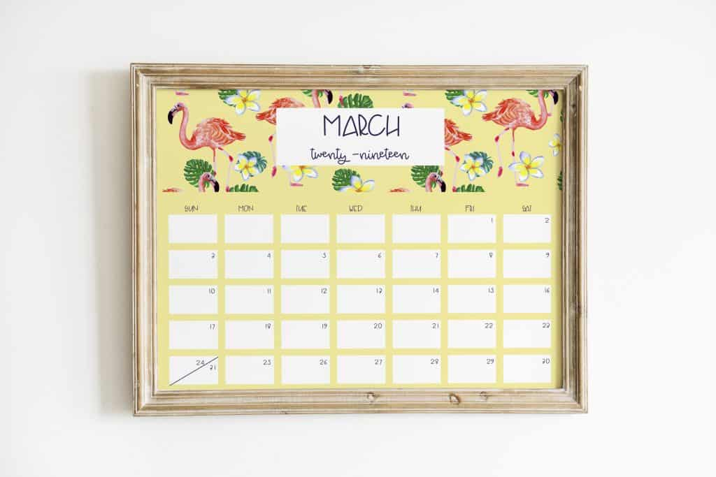 flamingo 2019 calendar march wood frame