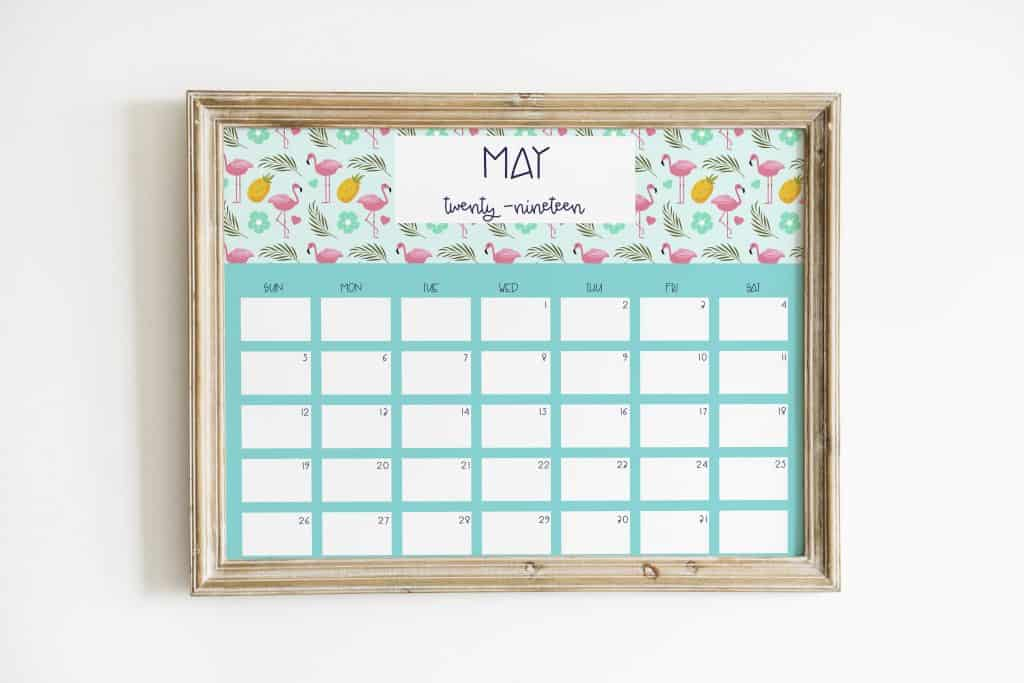 flamingo 2019 calendar may wood frame