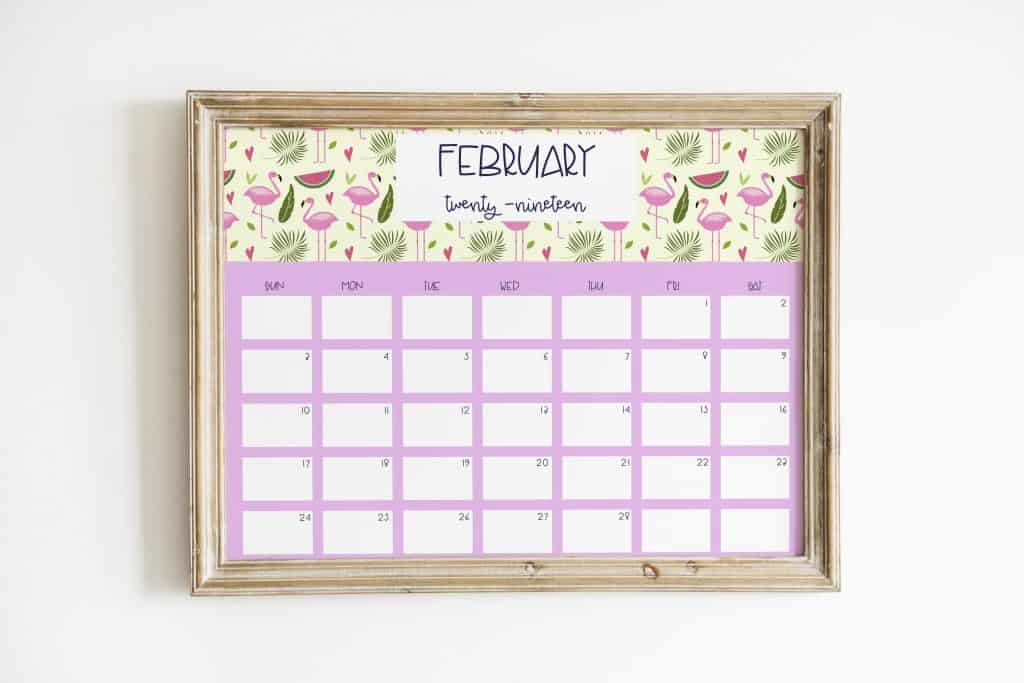 flamingo calendar february wood frame