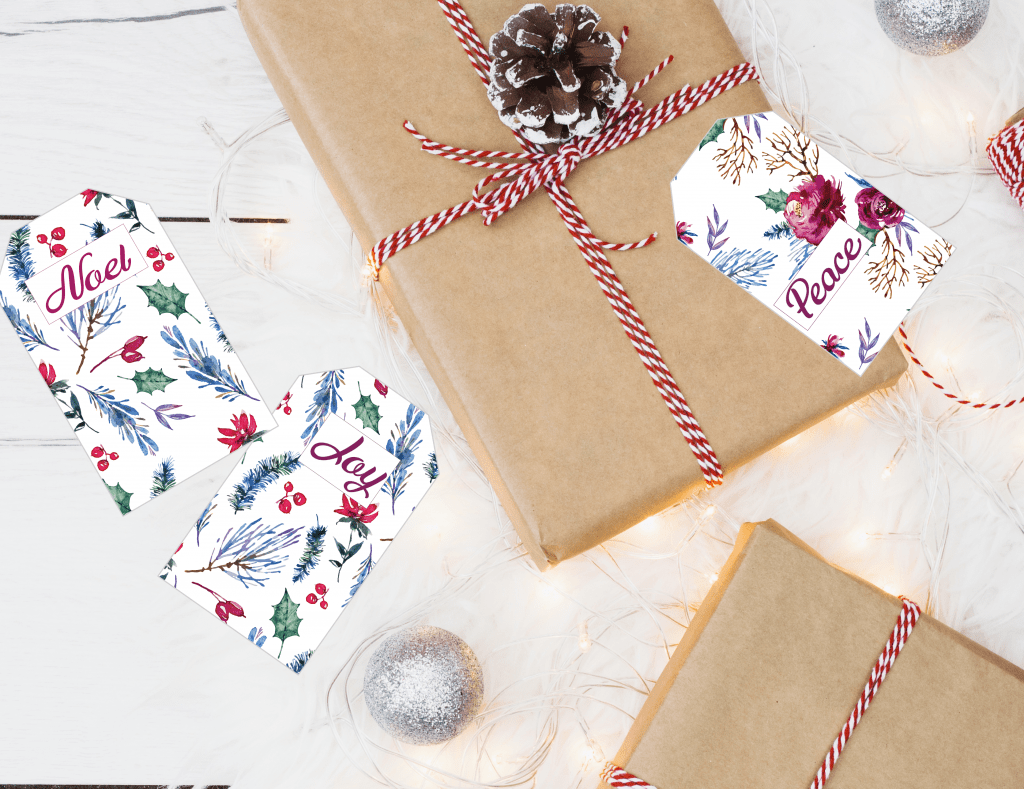 Christmas gift tag watercolor flowers
