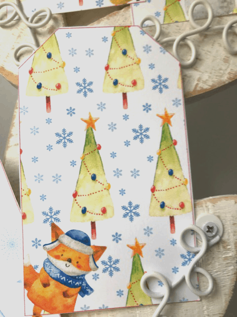 Christmas gift tags Winter animals