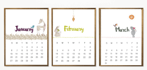 beautiful free 2019 calendar with Lisa Glanz' illustrations