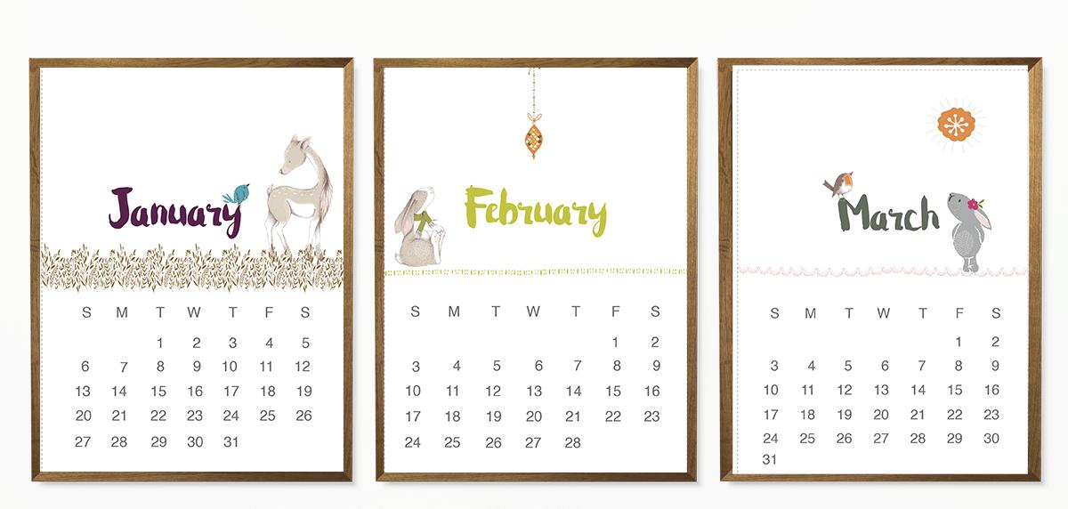 beautiful free 2019 calendar with Lisa Glanz' illustrations