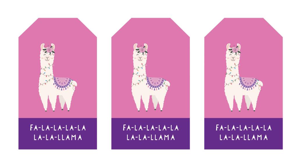 Christmas Gift Tags llama purple tags