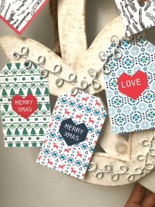 Christmas gift tags - modern fun Christmas patter with geometric heart