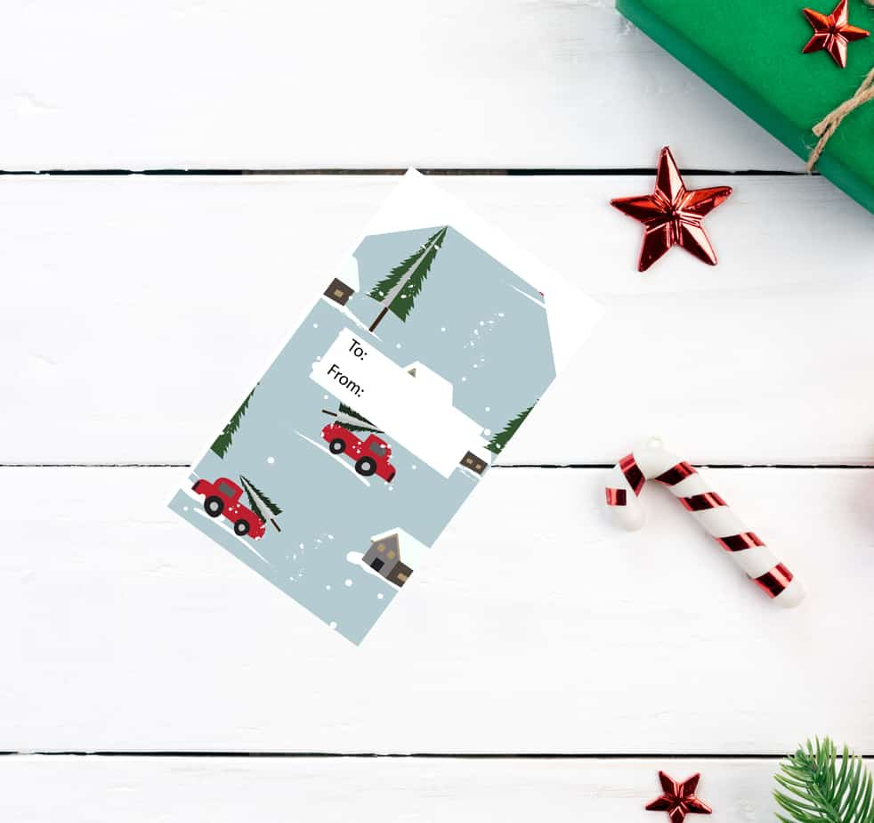 Chrisand gift tags pickup truck