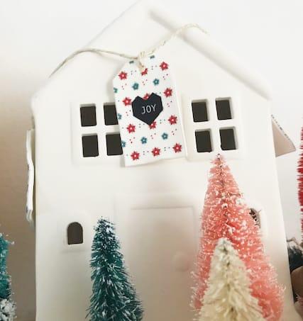 Christmas gift tags shrinky dink on a house