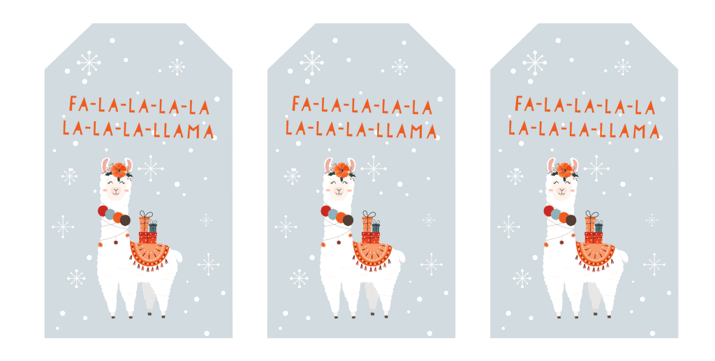 snow and llama Christmas gift tags