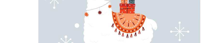Christmas gift tag snow and llama